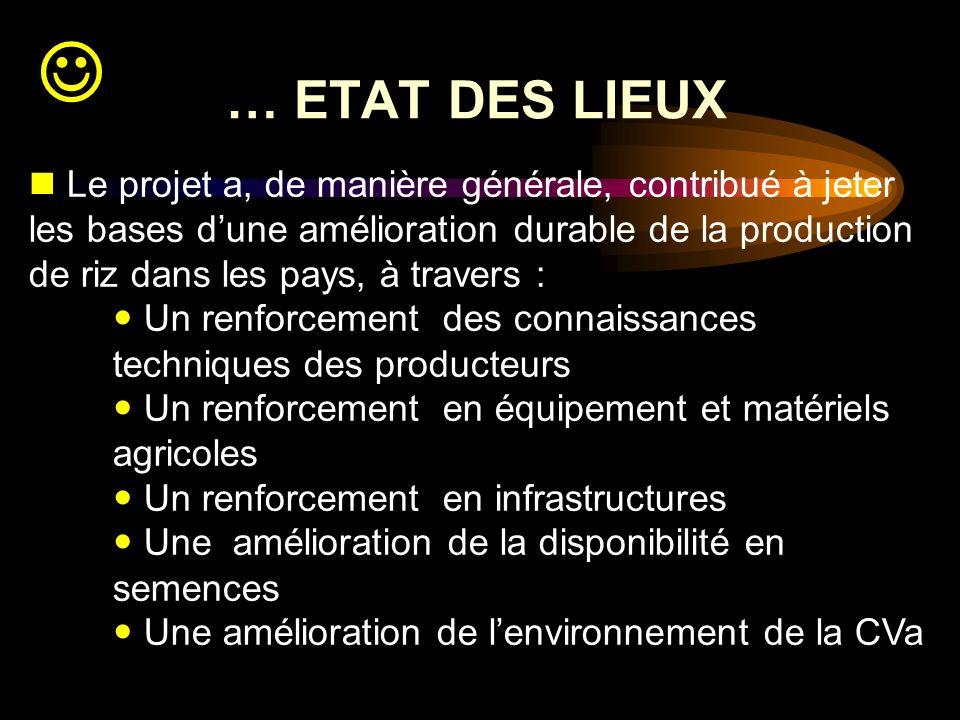 … ETAT DES LIEUX Le projet a, de manière générale, contribué à jeter les bases dune amélioration durable de la production de riz dans les pays, à trav