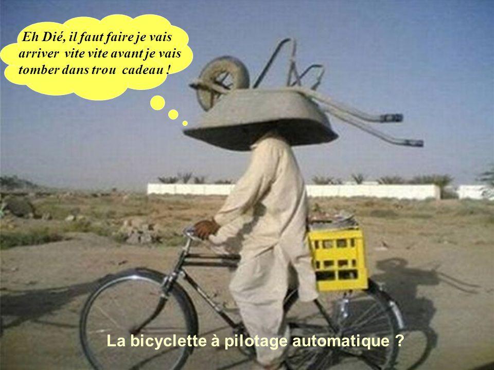 Eh Dié, il faut faire je vais arriver vite vite avant je vais tomber dans trou cadeau ! La bicyclette à pilotage automatique ?