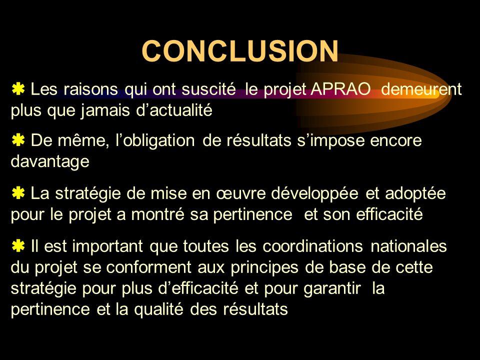 CONCLUSION Les raisons qui ont suscité le projet APRAO demeurent plus que jamais dactualité De même, lobligation de résultats simpose encore davantage