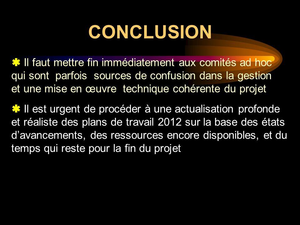CONCLUSION Il est urgent de procéder à une actualisation profonde et réaliste des plans de travail 2012 sur la base des états davancements, des ressou