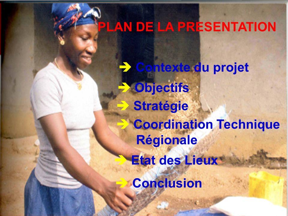 PLAN DE LA PRESENTATION Contexte du projet Objectifs Stratégie Coordination Technique Régionale Etat des Lieux Conclusion