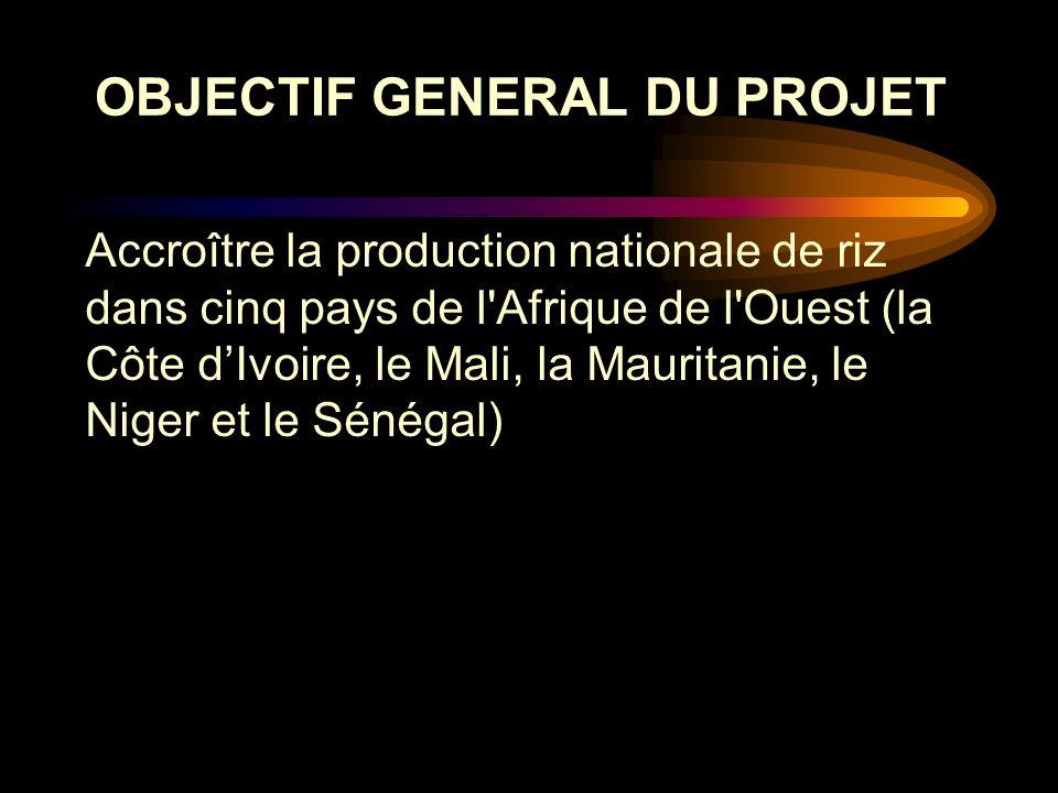 Accroître la production nationale de riz dans cinq pays de l'Afrique de l'Ouest (la Côte dIvoire, le Mali, la Mauritanie, le Niger et le Sénégal) OBJE