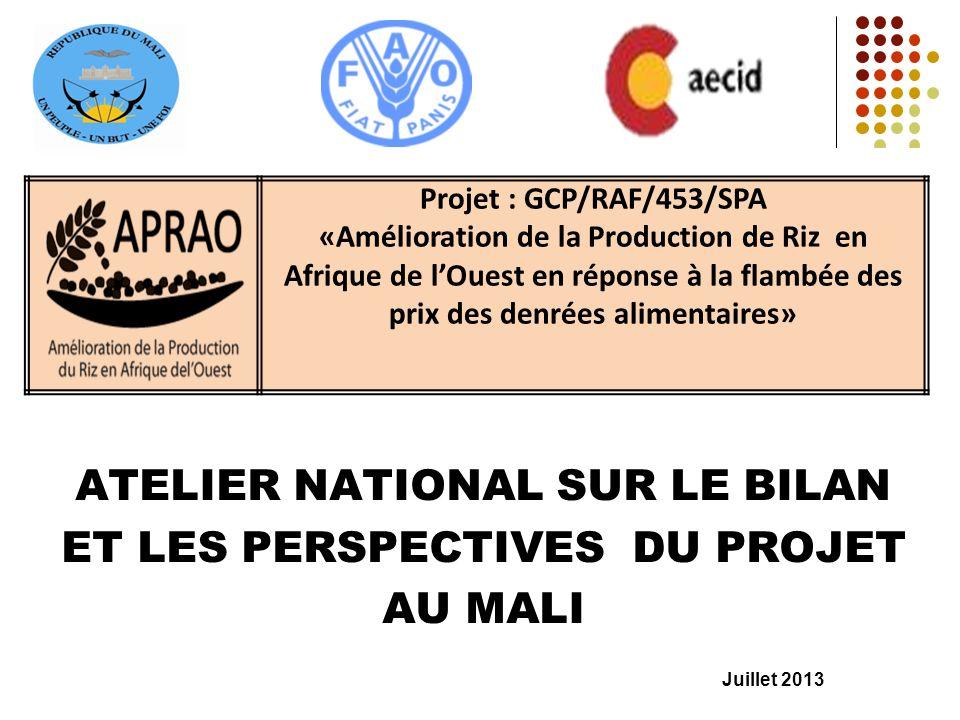 ATELIER NATIONAL SUR LE BILAN ET LES PERSPECTIVES DU PROJET AU MALI Juillet 2013 Projet : GCP/RAF/453/SPA «Amélioration de la Production de Riz en Afr