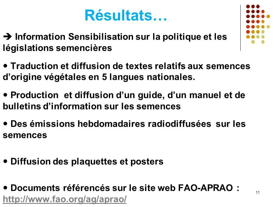Résultats… Information Sensibilisation sur la politique et les législations semencières Traduction et diffusion de textes relatifs aux semences dorigi