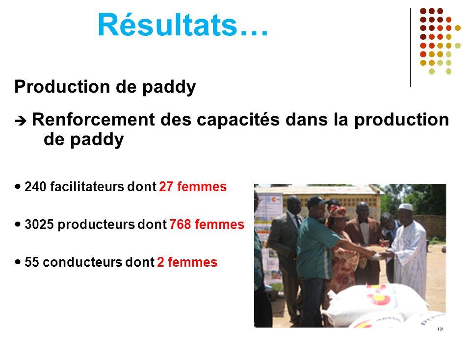 Résultats… Production de paddy Renforcement des capacités dans la production de paddy 240 facilitateurs dont 27 femmes 3025 producteurs dont 768 femmes 55 conducteurs dont 2 femmes 19