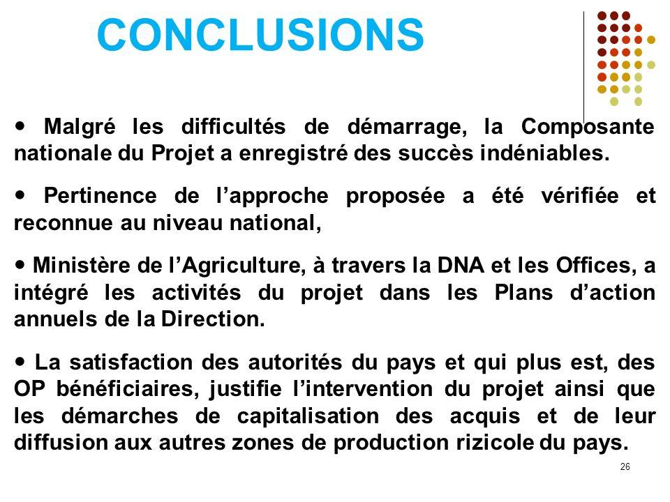 CONCLUSIONS Malgré les difficultés de démarrage, la Composante nationale du Projet a enregistré des succès indéniables. Pertinence de lapproche propos