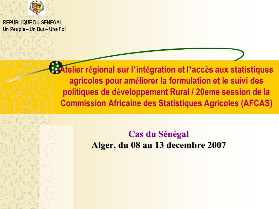 Atelier régional sur lintégration et laccès aux statistiques agricoles pour améliorer la formulation et le suivi des politiques de développement Rural
