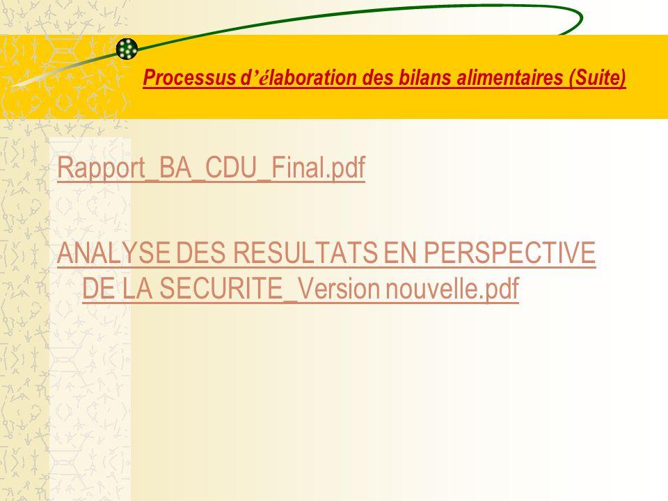 Processus d é laboration des bilans alimentaires (Suite) Rapport_BA_CDU_Final.pdf ANALYSE DES RESULTATS EN PERSPECTIVE DE LA SECURITE_Version nouvelle