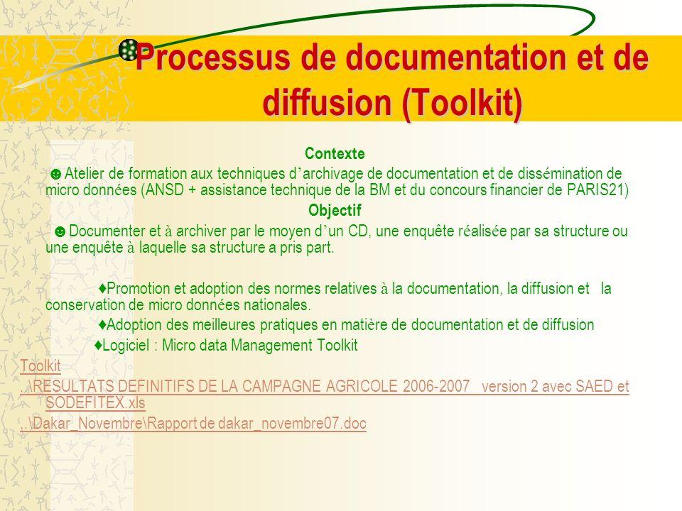Processus de documentation et de diffusion (Toolkit) Contexte Atelier de formation aux techniques d archivage de documentation et de diss é mination d