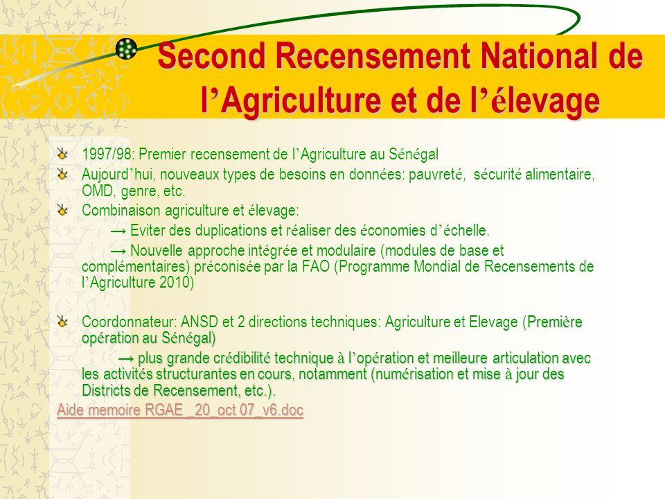 Autres perspectives Autres perspectives - Assurance agricole : La Division des Statistiques agricoles est fortement impliqu é e dans un projet d assurances agricoles avec la Banque Mondiale ; - Utilisation des GPS : Un test a é t é r é alis é, sous l é gide de la FAO, et si les r é sultats sont concluants, il sera proc é d é à une utilisation plus accrue du GPA dans les enquêtes agricoles ; - Projet d exp é rimentation de Country Stat avec la FAO, sous financement de la Banque Mondiale ; - Etude pilote FAO-BM sur la faisabilit é des indicateurs de suivi é valuation des projets et programmes de d é veloppement rural et agricole au niveau de cinq pays : cas du S é n é gal RAPPORTDEFINITIF.doc RAPPORTDEFINITIF.docRAPPORTDEFINITIF.doc