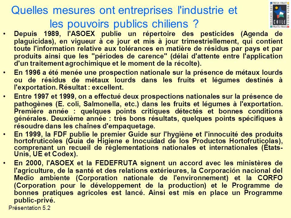 Présentation 5.2 Quelles mesures ont entreprises l'industrie et les pouvoirs publics chiliens ? Depuis 1989, l'ASOEX publie un répertoire des pesticid