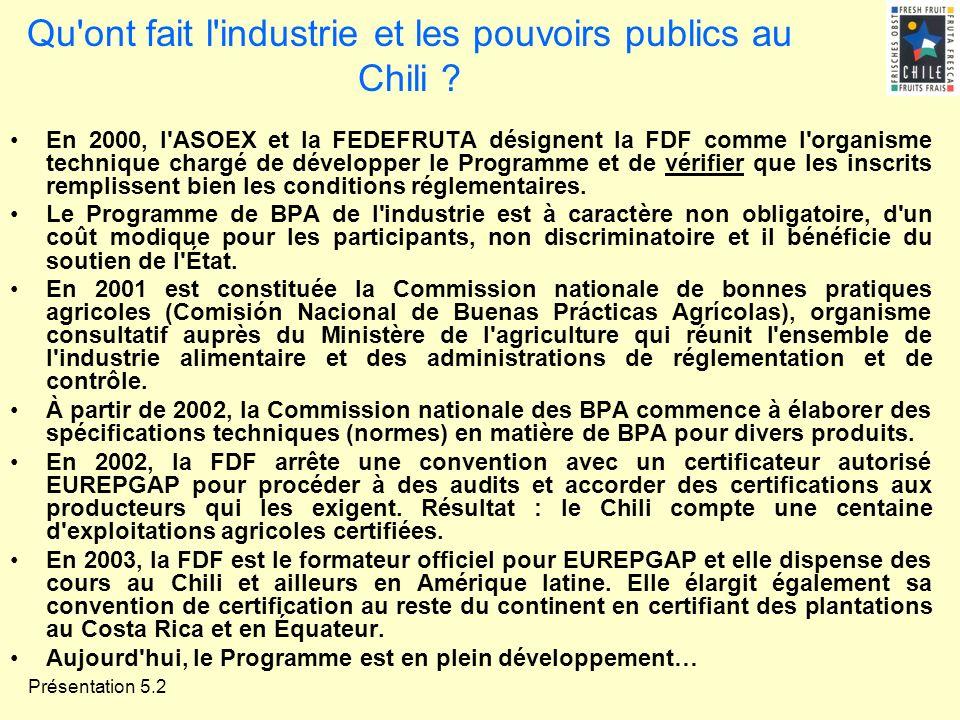 Présentation 5.2 Qu'ont fait l'industrie et les pouvoirs publics au Chili ? En 2000, l'ASOEX et la FEDEFRUTA désignent la FDF comme l'organisme techni