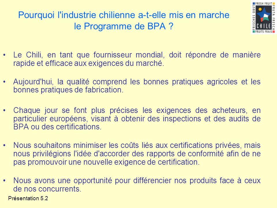 Présentation 5.2 Pourquoi l'industrie chilienne a-t-elle mis en marche le Programme de BPA ? Le Chili, en tant que fournisseur mondial, doit répondre
