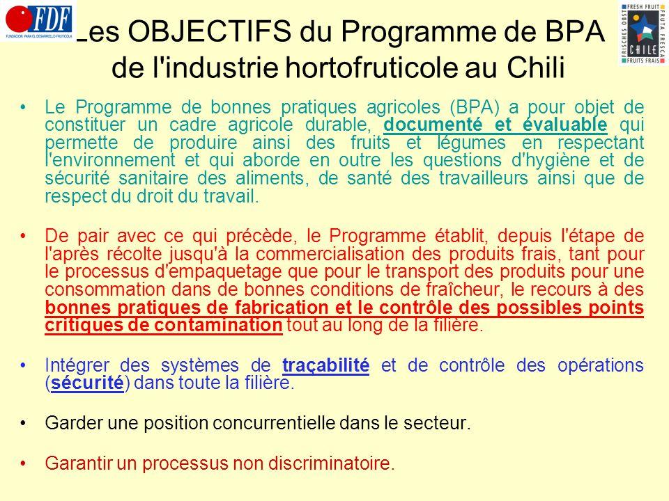 Les OBJECTIFS du Programme de BPA de l'industrie hortofruticole au Chili Le Programme de bonnes pratiques agricoles (BPA) a pour objet de constituer u