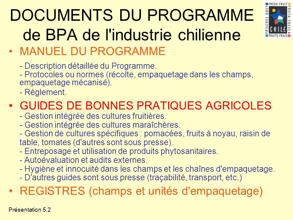 Présentation 5.2 DOCUMENTS DU PROGRAMME de BPA de l'industrie chilienne MANUEL DU PROGRAMME - Description détaillée du Programme. - Protocoles ou norm