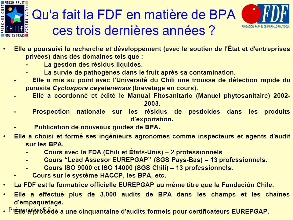 Présentation 5.2 Qu'a fait la FDF en matière de BPA ces trois dernières années ? Elle a poursuivi la recherche et développement (avec le soutien de l'