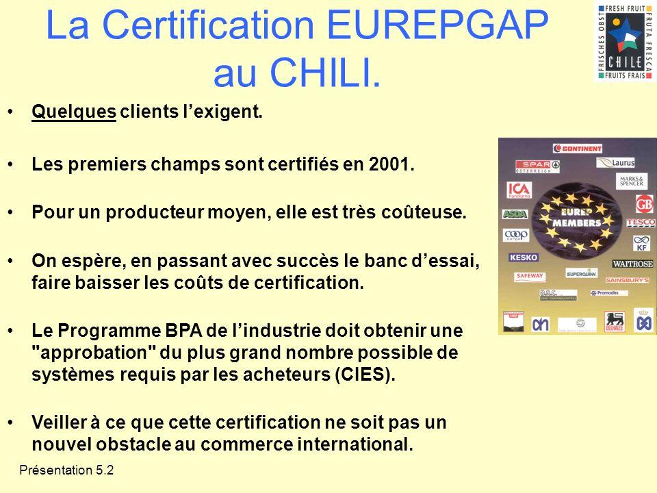 Présentation 5.2 La Certification EUREPGAP au CHILI. Quelques clients lexigent. Les premiers champs sont certifiés en 2001. Pour un producteur moyen,