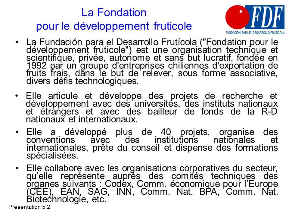 Présentation 5.2 La Fondation pour le développement fruticole La Fundación para el Desarrollo Frutícola (