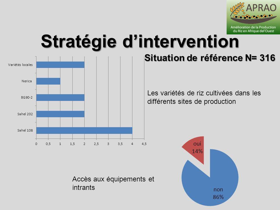 Stratégie dintervention Situation de référence N= 316 Accès aux équipements et intrants Les variétés de riz cultivées dans les différents sites de pro
