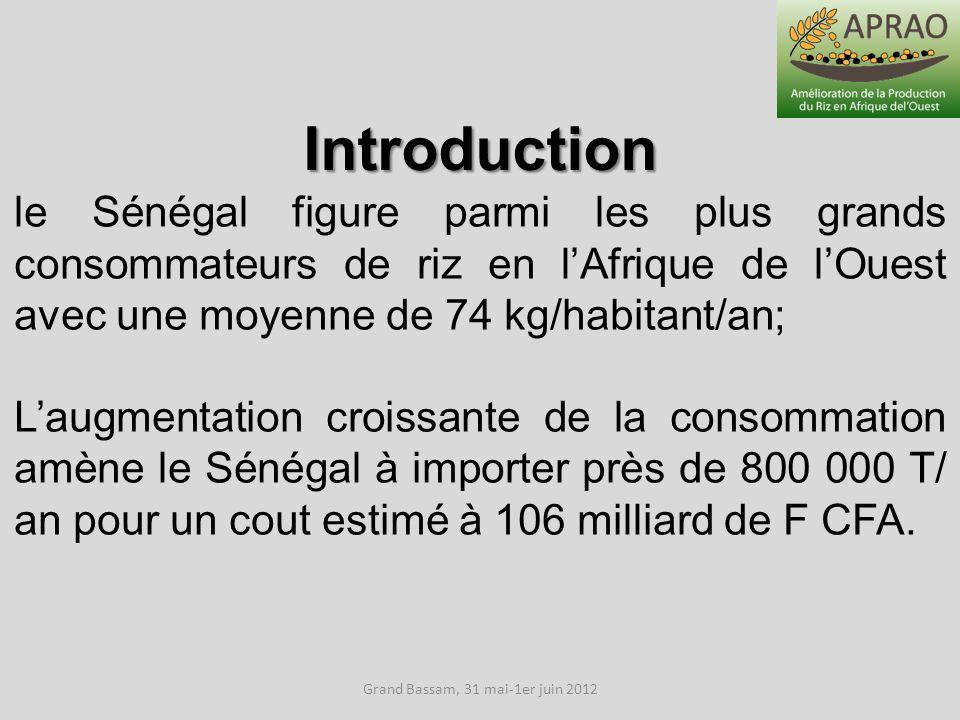 Grand Bassam, 31 mai-1er juin 2012 Introduction le Sénégal figure parmi les plus grands consommateurs de riz en lAfrique de lOuest avec une moyenne de