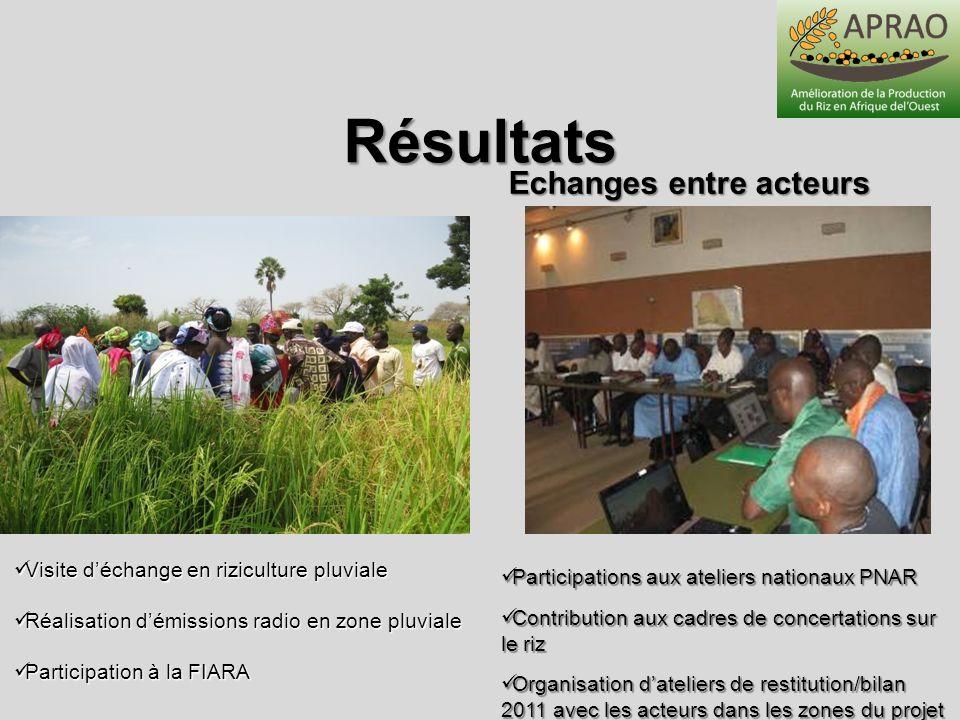 Résultats Echanges entre acteurs Visite déchange en riziculture pluviale Visite déchange en riziculture pluviale Réalisation démissions radio en zone