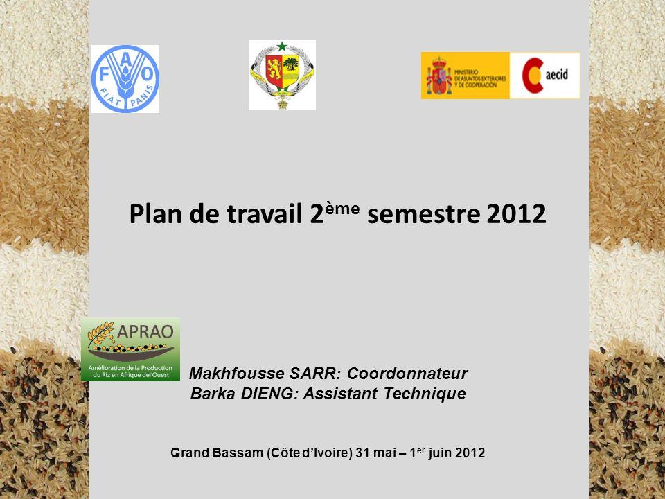 Plan de travail 2 ème semestre 2012 Makhfousse SARR: Coordonnateur Barka DIENG: Assistant Technique Grand Bassam (Côte dIvoire) 31 mai – 1 er juin 201