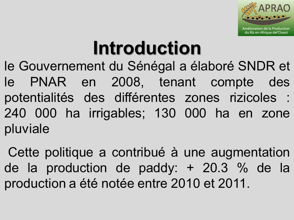 le Gouvernement du Sénégal a élaboré SNDR et le PNAR en 2008, tenant compte des potentialités des différentes zones rizicoles : 240 000 ha irrigables;