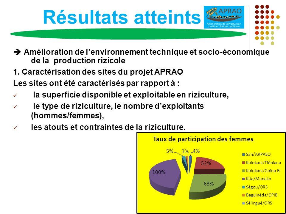 Résultats atteints Amélioration de lenvironnement technique et socio-économique de la production rizicole 1. Caractérisation des sites du projet APRAO