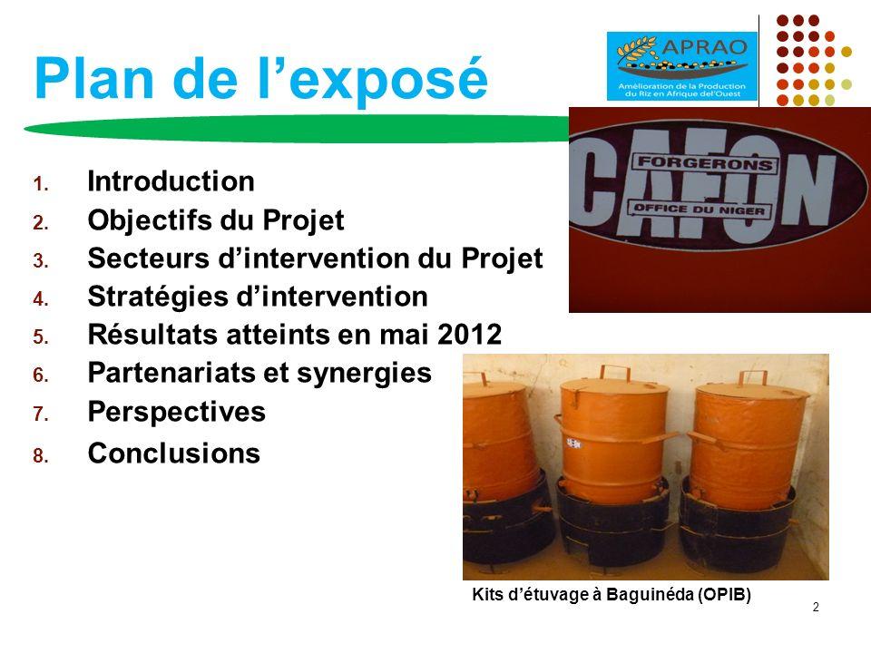 Plan de lexposé 1. Introduction 2. Objectifs du Projet 3. Secteurs dintervention du Projet 4. Stratégies dintervention 5. Résultats atteints en mai 20