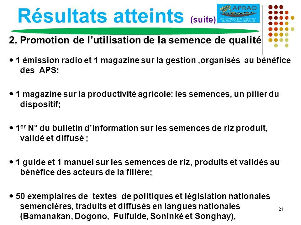 Résultats atteints (suite) 2. Promotion de lutilisation de la semence de qualité 1 émission radio et 1 magazine sur la gestion,organisés au bénéfice d