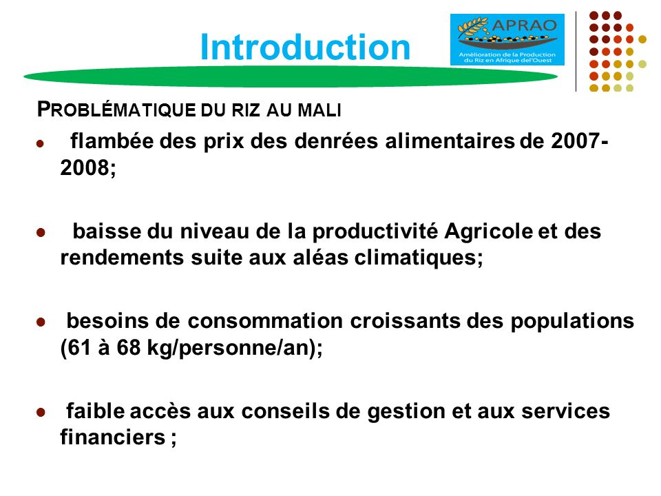 Introduction P ROBLÉMATIQUE DU RIZ AU MALI flambée des prix des denrées alimentaires de 2007- 2008; baisse du niveau de la productivité Agricole et de