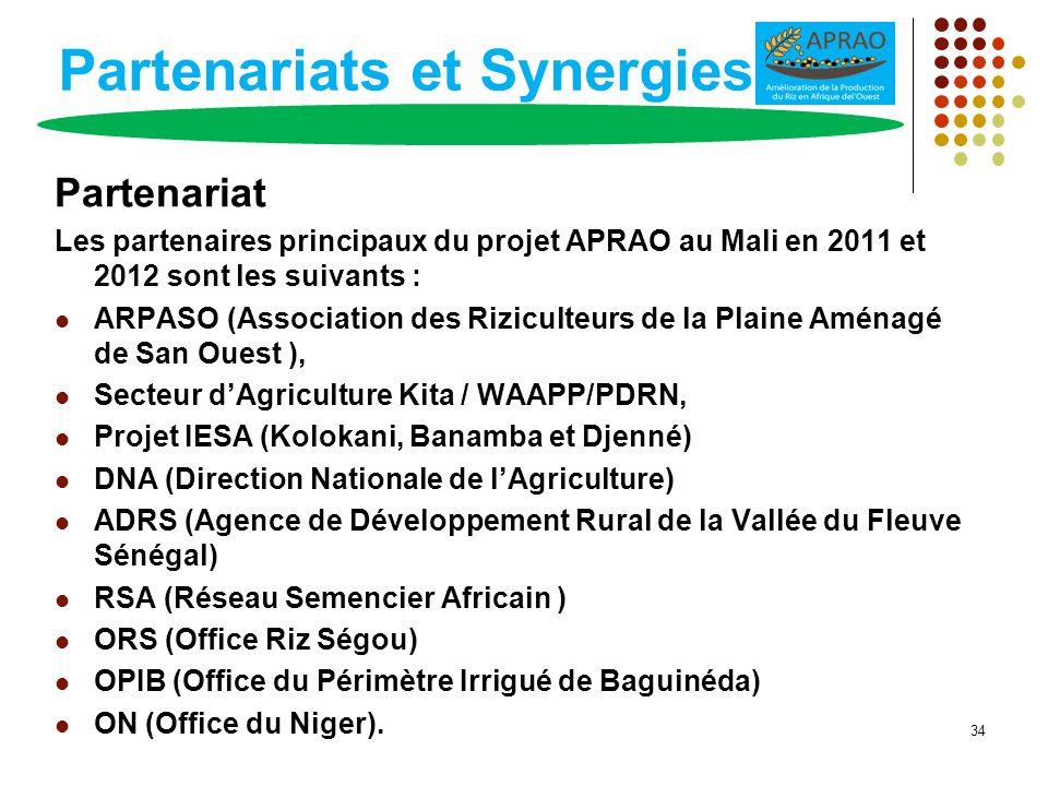 Partenariats et Synergies Partenariat Les partenaires principaux du projet APRAO au Mali en 2011 et 2012 sont les suivants : ARPASO (Association des R