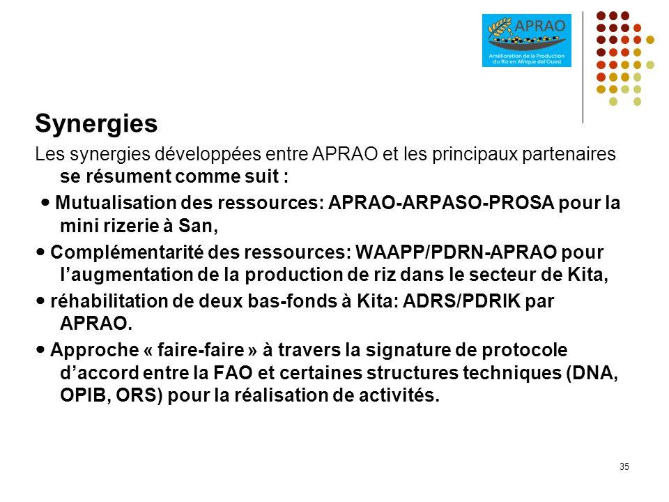 Synergies Les synergies développées entre APRAO et les principaux partenaires se résument comme suit : Mutualisation des ressources: APRAO-ARPASO-PROS