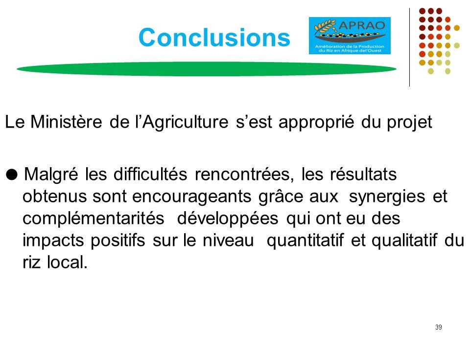 Conclusions Le Ministère de lAgriculture sest approprié du projet Malgré les difficultés rencontrées, les résultats obtenus sont encourageants grâce a