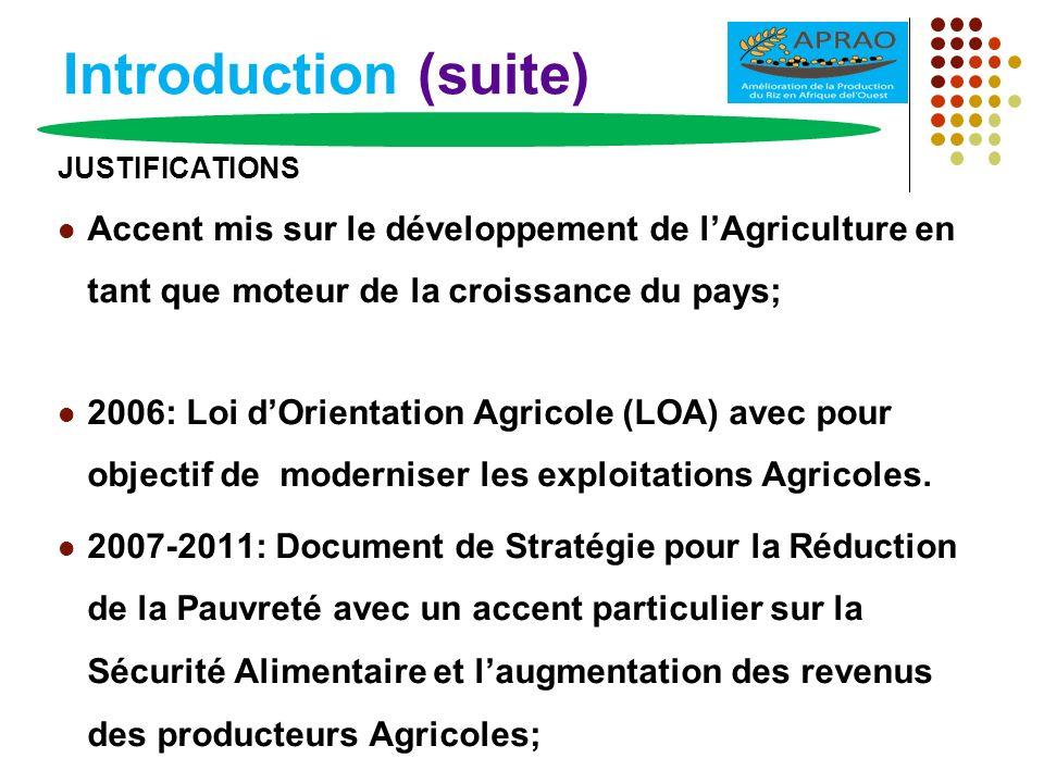Introduction (suite) Le riz joue un rôle important dans la stratégie nationale de sécurité alimentaire; Riz local bien apprécié par les consommateurs Énormes potentialités en matière daménagements hydro-agricoles et de ressources en eau.