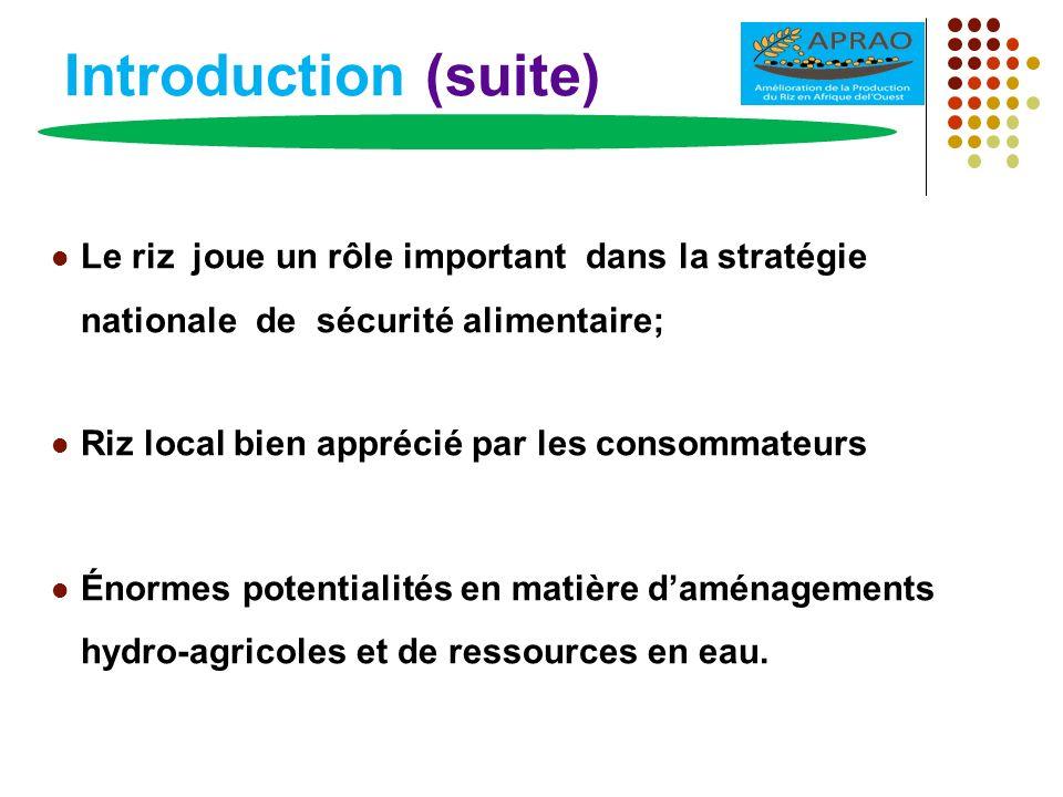 Introduction (suite) Le riz joue un rôle important dans la stratégie nationale de sécurité alimentaire; Riz local bien apprécié par les consommateurs