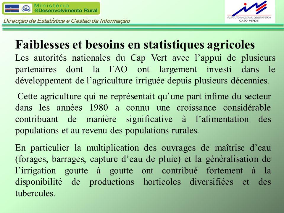 Direcção de Estatística e Gestão da Informação Faiblesses et besoins en statistiques agricoles Les autorités nationales du Cap Vert avec lappui de plu