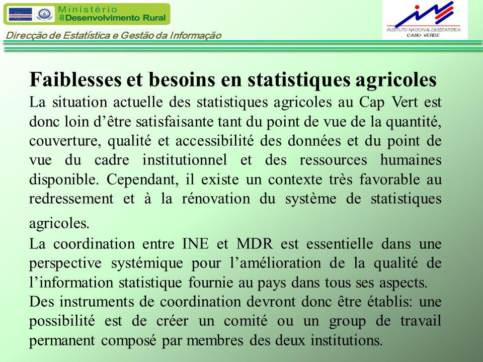 Direcção de Estatística e Gestão da Informação Faiblesses et besoins en statistiques agricoles La situation actuelle des statistiques agricoles au Cap