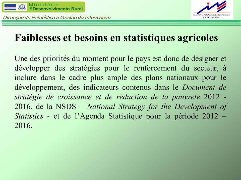 Direcção de Estatística e Gestão da Informação Faiblesses et besoins en statistiques agricoles Une des priorités du moment pour le pays est donc de de
