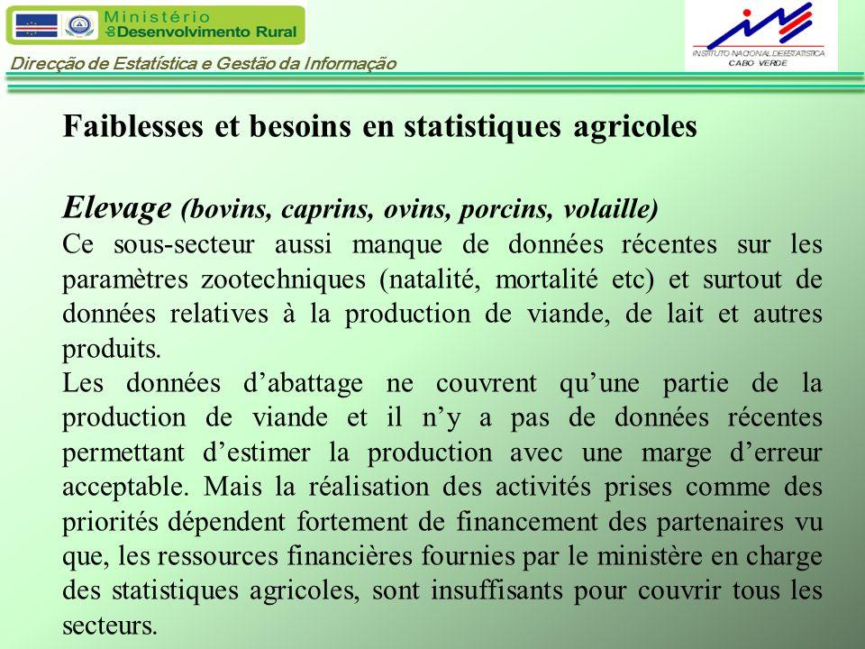 Direcção de Estatística e Gestão da Informação Faiblesses et besoins en statistiques agricoles Elevage (bovins, caprins, ovins, porcins, volaille) Ce