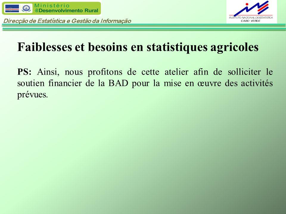 Direcção de Estatística e Gestão da Informação Faiblesses et besoins en statistiques agricoles PS: Ainsi, nous profitons de cette atelier afin de soll