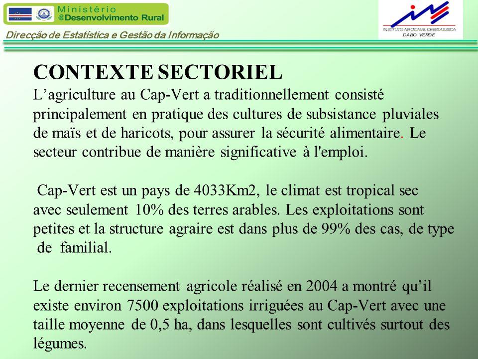 Direcção de Estatística e Gestão da Informação CONTEXTE SECTORIEL Lagriculture au Cap-Vert a traditionnellement consisté principalement en pratique de