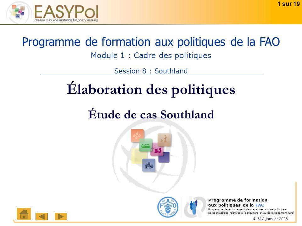 © FAO janvier 2008 1 sur 19 Programme de formation aux politiques de la FAO Programme de renforcement des capacités sur les politiques et les stratégi
