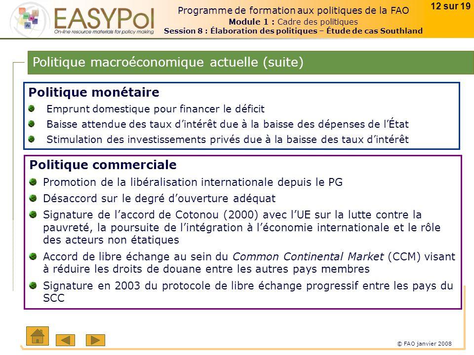 © FAO janvier 2008 12 sur 19 Programme de formation aux politiques de la FAO Module 1 : Cadre des politiques Session 8 : Élaboration des politiques –