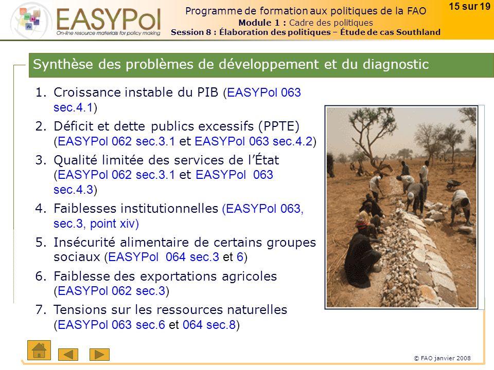 © FAO janvier 2008 15 sur 19 Programme de formation aux politiques de la FAO Module 1 : Cadre des politiques Session 8 : Élaboration des politiques – Étude de cas Southland Synthèse des problèmes de développement et du diagnostic 1.Croissance instable du PIB (EASYPol 063 sec.4.1) 2.Déficit et dette publics excessifs (PPTE) (EASYPol 062 sec.3.1 et EASYPol 063 sec.4.2) 3.Qualité limitée des services de lÉtat (EASYPol 062 sec.3.1 et EASYPol 063 sec.4.3) 4.Faiblesses institutionnelles (EASYPol 063, sec.3, point xiv) 5.Insécurité alimentaire de certains groupes sociaux (EASYPol 064 sec.3 et 6) 6.Faiblesse des exportations agricoles (EASYPol 062 sec.3) 7.Tensions sur les ressources naturelles (EASYPol 063 sec.6 et 064 sec.8)