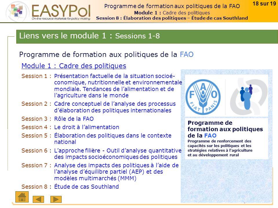 © FAO janvier 2008 18 sur 19 Programme de formation aux politiques de la FAO Module 1 : Cadre des politiques Session 8 : Élaboration des politiques –