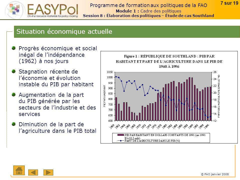 © FAO janvier 2008 7 sur 19 Programme de formation aux politiques de la FAO Module 1 : Cadre des politiques Session 8 : Élaboration des politiques – É