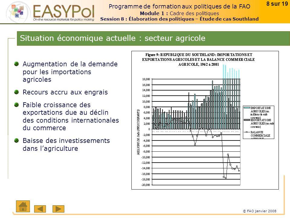 © FAO janvier 2008 8 sur 19 Programme de formation aux politiques de la FAO Module 1 : Cadre des politiques Session 8 : Élaboration des politiques – É