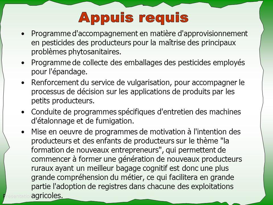 Présentation 4.8 Programme d'accompagnement en matière d'approvisionnement en pesticides des producteurs pour la maîtrise des principaux problèmes phy