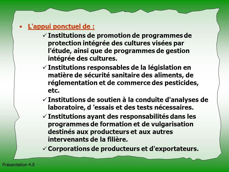 Présentation 4.8 L'appui ponctuel de : Institutions de promotion de programmes de protection intégrée des cultures visées par l'étude, ainsi que de pr